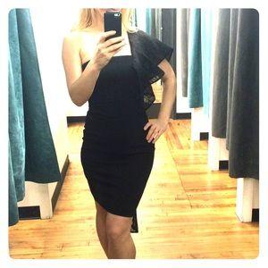 Black one shoulder decor train MILLY dress